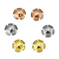 Edelstahl Perle Kappe, Blume, plattiert, keine, 8x3.50x8mm, 100PCs/Tasche, verkauft von Tasche