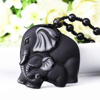 Obsidian Halskette, mit Nylonschnur, Elephant, natürliche & unisex & satiniert, 45x50mm, verkauft per ca. 18 ZollInch Strang