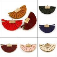 PU Leder Anhänger, mit Eisen Stiftöse, Blume, goldfarben plattiert, keine, 35x20x2.50mm, Bohrung:ca. 3x1.5mm, 100PCs/Tasche, verkauft von Tasche