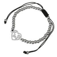 Edelstahl Woven Ball Armband, mit Nylonschnur, Herz, Wort Liebe, einstellbar & für Frau, originale Farbe, 18x13mm, 3x4mm, verkauft per ca. 6-11 ZollInch Strang
