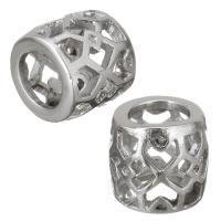 Edelstahl-Perlen mit großem Loch, Edelstahl, Trommel, hohl, originale Farbe, 10x10x10mm, Bohrung:ca. 6mm, 10PCs/Menge, verkauft von Menge