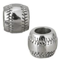 Edelstahl-Perlen mit großem Loch, Edelstahl, Trommel, originale Farbe, 11x9.50x11mm, Bohrung:ca. 6mm, 10PCs/Menge, verkauft von Menge