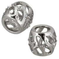 Edelstahl Perlen Einstellung, Trommel, hohl, originale Farbe, 12x11x12mm, Bohrung:ca. 6.5mm, Innendurchmesser:ca. 1.5mm, 10PCs/Menge, verkauft von Menge