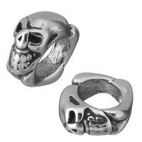 Edelstahl-Perlen mit großem Loch, Edelstahl, Schädel, Schwärzen, 5x10x10mm, Bohrung:ca. 6mm, 10PCs/Menge, verkauft von Menge