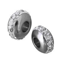 Edelstahl Großes Loch Perlen, mit Ton, Rondell, ohne troll, originale Farbe, 14x7.50x14mm, Bohrung:ca. 5mm, 10PCs/Menge, verkauft von Menge