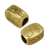 Edelstahl European Perlen, Rechteck, goldfarben plattiert, ohne troll, 12x7.50x9mm, Bohrung:ca. 5mm, 10PCs/Menge, verkauft von Menge