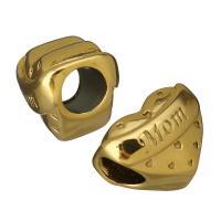 Edelstahl-Perlen mit großem Loch, Edelstahl, Herz, Wort mom, goldfarben plattiert, 14.50x11.50x11.50mm, Bohrung:ca. 5.5mm, 10PCs/Menge, verkauft von Menge