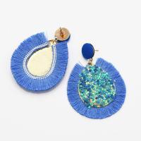 Zinklegierung Troddel Ohrring, mit Kunststoff Pailletten & Baumwolle Schnur, Tropfen, goldfarben plattiert, für Frau, keine, frei von Nickel, Blei & Kadmium, 55x75mm, verkauft von Paar
