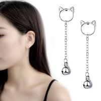 Messing Tropfen Ohrringe, platiniert, für Frau, 70mm, verkauft von Paar