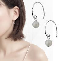 Messing Ohrring, mit Opal, platiniert, für Frau, 25mm, verkauft von Paar