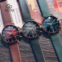 GUOU® Unisex Schmuckuhr, Glas, mit Leder & Titan Legierung, plattiert, für den Menschen, keine, 44x10mm, Länge:ca. 9.6 ZollInch, verkauft von PC