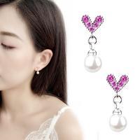 Messing Tropfen Ohrring, mit Kunststoff Perlen, platiniert, für Frau & mit Strass, 7x6mm, verkauft von Paar