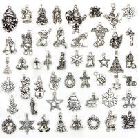 Zinklegierung Weihnachten Anhänger, antik silberfarben plattiert, Weihnachtsschmuck, 13-33mm, Bohrung:ca. 0.5-2mm, 50PCs/setzen, verkauft von setzen