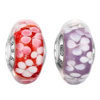 Lampwork Perlen European Stil, Rondell, handgemacht, mit 925 logo & Sterling Silber-Dual-Core ohne troll, keine, 8.7x15.5mm, Bohrung:ca. 4.5mm, verkauft von PC