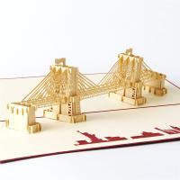 Grußkarte, Papier, Brücke, handgemacht, mit Umschlag & 3D-Effekt, 300x140mm, verkauft von PC