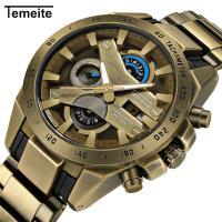 TeMeiTe® Herren Schmuckuhr , Glas, mit Edelstahl & Zinklegierung, plattiert, Multifunktions & für den Menschen, keine, 45x14mm, Länge:ca. 9.4 ZollInch, verkauft von PC