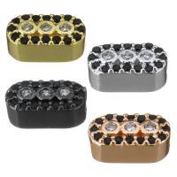Messing Schmuck Verbinder, Rechteck, plattiert, Micro pave Zirkonia & 1/1-Schleife, keine, 10x5x4mm, Bohrung:ca. 1.5mm, 10PCs/Menge, verkauft von Menge