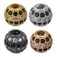 Messing Großes Loch Perlen, Trommel, plattiert, Micro pave Zirkonia, keine, 8x7x8mm, Bohrung:ca. 3mm, 10PCs/Menge, verkauft von Menge