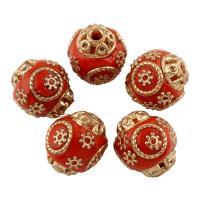 Indonesien Perle, mit Zinklegierung, Olive, goldfarben plattiert, 16x15mm, Bohrung:ca. 1mm, verkauft von PC