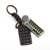 Schlüsselanhänger, Zinklegierung, mit Leder, plattiert, 40x68mm, verkauft von PC