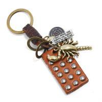 Schlüsselanhänger, Zinklegierung, mit Leder, antike Bronzefarbe plattiert, 31x50mm, verkauft von PC