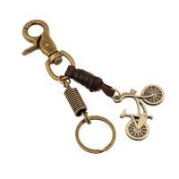 Schlüsselanhänger, Zinklegierung, mit Leder, antike Bronzefarbe plattiert, 50x35mm, verkauft von PC