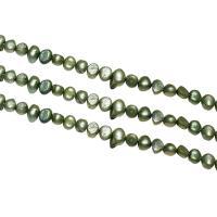 Barock kultivierten Süßwassersee Perlen, Natürliche kultivierte Süßwasserperlen, Klumpen, grün, 7-8mm, Bohrung:ca. 0.8mm, verkauft per ca. 14.7 ZollInch Strang