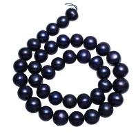Runde Süßwasser Zuchtperlen, Natürliche kultivierte Süßwasserperlen, dunkelviolett, 10-11mm, Bohrung:ca. 0.8mm, verkauft per ca. 14.5 ZollInch Strang