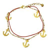 Edelstahl Schmuck Armband, mit Nylonschnur, mit Verlängerungskettchen von 2Inch, Anker, goldfarben plattiert, Armband  Bettelarmband & mit Glocke & Oval-Kette & für Frau & 2 strängig, 13x16mm, 1x2.5mm, 2x1.5mm, 1mm, verkauft per ca. 8 ZollInch Strang