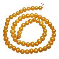 Barock kultivierten Süßwassersee Perlen, Natürliche kultivierte Süßwasserperlen, Klumpen, goldfarben, 6-7mm, verkauft per ca. 14.7 ZollInch Strang