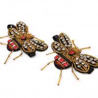 Nichtgewebte Stoffe Schuhe Dekoration, mit Glasperlen, Libelle, mit Strass, 95x60mm, verkauft von Paar