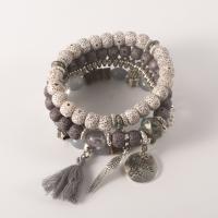 Zinklegierung Armband, mit Bodhi Holzperlen & Baumwolle & Lampwork, plattiert, mehrschichtig & Bohemian-Stil & für Frau, keine, verkauft per ca. 7 ZollInch Strang