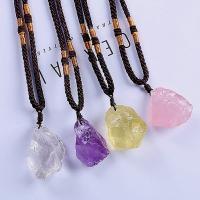 Quarz Halskette, Natürlicher Quarz, mit Nylonschnur, Klumpen, unisex, keine, 10-15mm, verkauft per ca. 14.9 ZollInch Strang