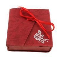 Karton Halskettenkasten, Papier, mit PU Leder, Rechteck, rot, 90x95x30mm, verkauft von PC