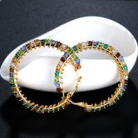 Messing Kreolen, Kreisring, vergoldet, Micro pave Zirkonia & für Frau, frei von Nickel, Blei & Kadmium, 71x50.2mm, verkauft von Paar