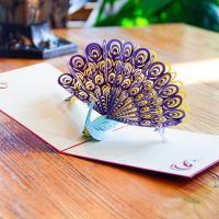 Papier 3D Grußkarte, Pfau, handgemacht, verschiedene Verpackungs Art für Wahl & mit Umschlag & 3D-Effekt, 150x150mm, verkauft von PC