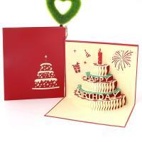 Papier 3D Grußkarte, Kuchen, Wort Happy Birthday Day, handgemacht, mit Umschlag & 3D-Effekt, keine, 128x148mm, verkauft von PC