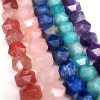 Mischedelstein Perlen, Edelstein, verschiedenen Materialien für die Wahl & facettierte, 9mm, Bohrung:ca. 1mm, ca. 42PCs/Strang, verkauft von Strang