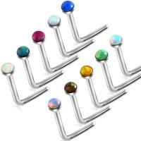 Edelstahl geschwungene Langhantel, mit Opal, unisex, keine, 0.8mm, 2mm, 7mm, 2PCs/Menge, verkauft von Menge