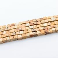 Bild Jaspis Perlen, 4x4mm, Bohrung:ca. 0.8mm, ca. 100PCs/Strang, verkauft per ca. 15 ZollInch Strang