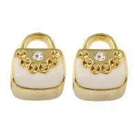 Zinklegierung Stiftöse Perlen, Türschloss, goldfarben plattiert, Emaille & mit Strass, frei von Blei & Kadmium, 9x11x8mm, Bohrung:ca. 2-5mm, verkauft von PC