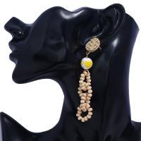 Messing Tropfen Ohrring, mit Holz, goldfarben plattiert, für Frau, keine, frei von Nickel, Blei & Kadmium, 18x88mm, verkauft von Paar