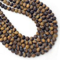 Tigerauge Perlen, rund, verschiedene Größen vorhanden, Bohrung:ca. 1mm, verkauft per ca. 14.5 ZollInch Strang