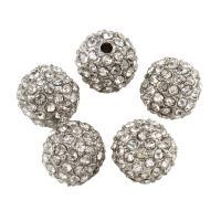 Strass Zinklegierung Perlen, rund, Platinfarbe platiniert, mit Strass, frei von Blei & Kadmium, 10mm, Bohrung:ca. 1mm, 10PCs/Tasche, verkauft von Tasche