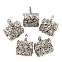 Zinklegierung Stiftöse Perlen, Platinfarbe platiniert, mit Strass, frei von Blei & Kadmium, 12x15x10mm, Bohrung:ca. 3-6mm, 10PCs/Tasche, verkauft von Tasche