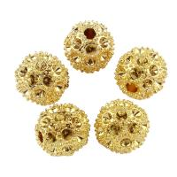 Zinklegierung Perlen Einstellung, rund, goldfarben plattiert, frei von Blei & Kadmium, 12mm, Bohrung:ca. 2mm, 10PCs/Tasche, verkauft von Tasche