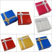 Schmuck Geschenkkarton, Papier, mit Funkeln Band, Squaredelle, verschiedene Muster für Wahl & mit Dekoration von Bandschleife, 80x80x35mm, verkauft von PC