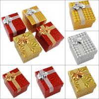 Karton Ringkasten, Papier, mit Funkeln Band, Rechteck, verschiedene Muster für Wahl & mit Dekoration von Bandschleife, 48x58x45mm, verkauft von PC