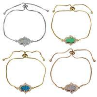 Messing Armband, mit Opal, Hamsa, plattiert, einstellbar & Kastenkette & Micro pave Zirkonia & für Frau, keine, 21x14mm, 1mm, Länge:ca. 5-8 ZollInch, 5SträngeStrang/Menge, verkauft von Menge