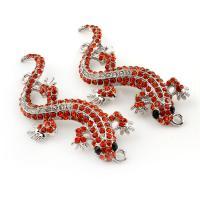 Tier Zinklegierung Schmuckverbinder, Gecko, silberfarben plattiert, mit Strass & 1/1-Schleife, frei von Blei & Kadmium, 23x60x4mm, Bohrung:ca. 2mm, 10PCs/Tasche, verkauft von Tasche